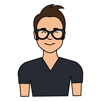young man with glasses avatar character vector illustration design